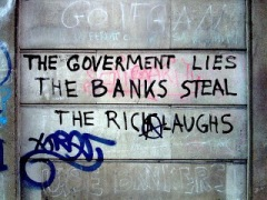 Graffiti Gov lies bank steal rich laugh A