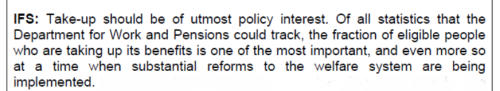 What the Institure for Fiscal Studies thought about scrapping statistics on benefit uptake rates